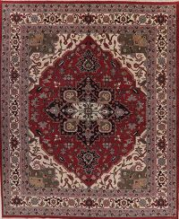 Large Geometric Red Heriz Oriental Rug Wool 12x15