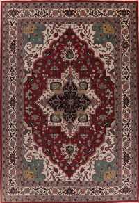 Large Geometric Red Heriz Oriental Rug Wool 12x17