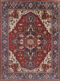 Geometric Red Heriz Oriental Wool Area Rug 9x12