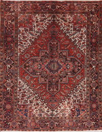 Vintage Red Heriz Persian Rug Wool Area 7x9