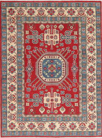 Geometric Red Super Kazak Oriental Rug Area 6x8