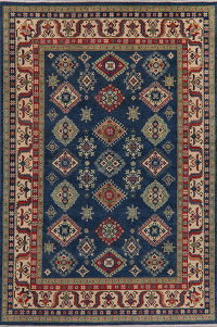 Navy Blue Super Kazak Oriental Rug Area 7x10