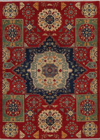 Geometric Super Kazak Oriental Wool Area Rug 6x8