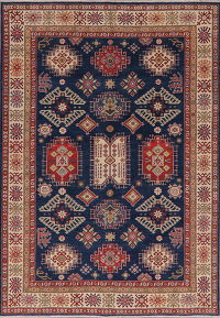 Blue Geometric Super Kazak Oriental Area Rug 6x9