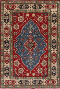 Geometric Super Kazak Oriental Wool Area Rug 6x9