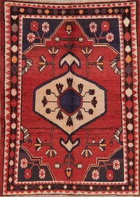 Vintage Geometric Red Hamedan Persian Wool Area Rug 6x8