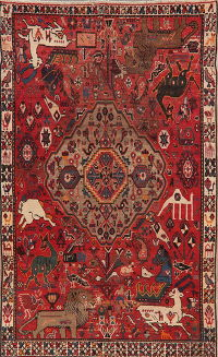 Antique Animals Red Shiraz Persian Wool Area Rug 6x10