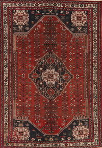 Antique Tribal Red Abadeh Persian Wool Area Rug 7x10