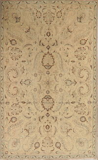 Vintage Floral Tabriz Muted Distressed Persian Area Rug 6x10