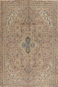 Pale Purple Geometric Tabriz Persian Wool Area Rug 6x9