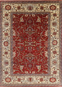 All-Over Red Floral Heriz Oriental Area Rug 10x14