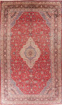 Large Vintage Floral Red Shahbaft Persian Wool Rug 10x17