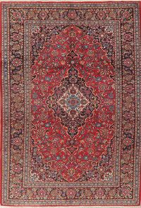 Traditional Floral Red Mashad Persian Area Rug 7x10