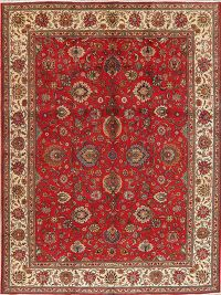 Floral Red Tabriz Persian Wool Area Rug 10x13