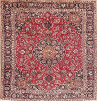 Vintage Floral Red Mashad Persian Wool Area Rug 9x11