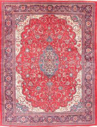 Vintage Floral Red Sarouk Persian Wool Area Rug 10x14