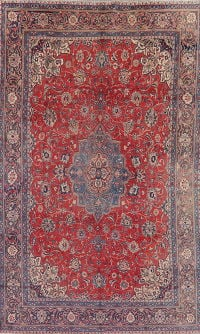 Vintage Floral Red Mahal Persian Wool Area Rug 7x12