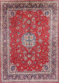 Vintage Floral Red Sarouk Persian Wool Area Rug 9x13
