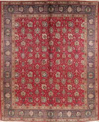 Vintage Floral Red Tabriz Persian Wool Area Rug 10x13