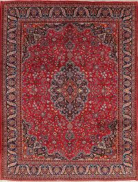 Floral Red Mashad Persian Wool Area Rug 10x13
