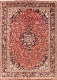 Vintage Floral Red Kashan Persian Area Rug Wool 10x14