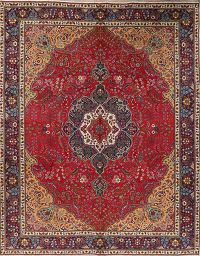 Floral Red Tabriz Persian Area Rug Wool 10x13