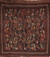 Pre-1900 Antique Vegetable Dye Afshar Persian Rug 6x6 Square