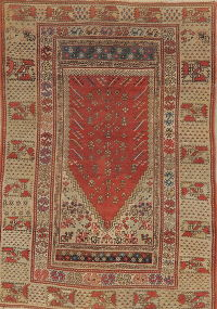 Pre-1900 Antique Vegetable Dye Anatolian Turkish Rug 4x5