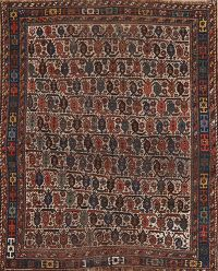 Pre-1900 Antique Vegetable Dye Qashqai Persian Area Rug 5x6