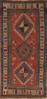 Pre 1900 Antique Vegetable Dye Kazak Oriental Runner Rug 3x7