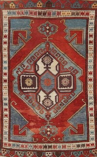 Antique Geometric Red Kazak Russian Oriental Area Rug 4x6