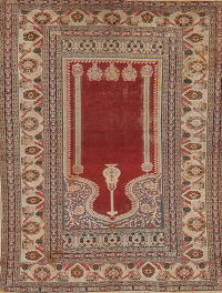Pre-1900 Antique Vegetable Dye Anatolian Turkish Area Rug 4x6