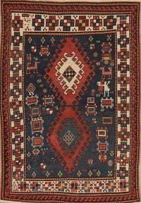 Antique Vegetable Dye Kazak Oriental Area Rug 4x6