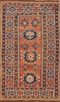 Pre-1900 Antique Vegetable Dye Kazak Caucasian Wool Rug 3x5