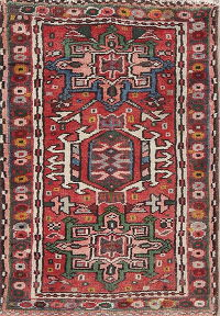 Vintage Tribal Red Gharajeh Persian Rug Wool 2x3