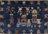 Vintage Navy Blue Art Deco Oriental Area Rug Wool 5x7