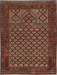 Pre-1900 Antique Vegetable Dye Shirvan Kazak Rug 4x5
