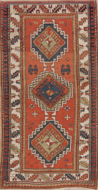 Antique Vegetable Dye Kazak Oriental Area Rug Wool 4x7