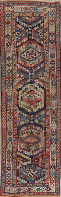 Pre-1900 Antique Vegetable Dye Kazak Oriental Runner Rug 4x12