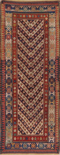 Pre-1900 Antique Vegetable Dye Kazak Caucasian Runner Rug 3x9