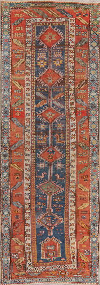 Pre-1900 Antique Vegetable Dye Kazak Oriental Runner Rug 4x10