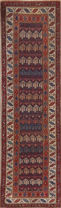 Pre-1900 Antique Vegetable Dye Caucasian Runner Rug 3x10