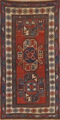 Pre-1900 Antique Vegetable Dye Kazak Caucasian Runner Rug 4x8