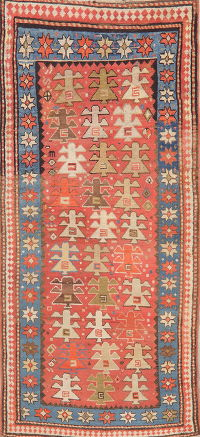 Pre-1900 Antique Vegetable Dye Kazak Caucasian Rug 3x7