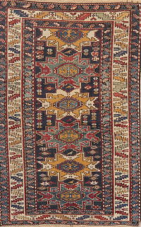 Pre-1900 Antique Vegetable Dye Caucasian Area Rug Wool 4x5