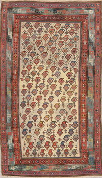 Pre-1900 Antique Vegetable Dye Caucasian Boteh Rug 4x8