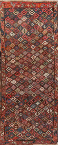 Pre-1900 Antique Vegetable Dye Kazak Caucasian Runner Rug 3x8
