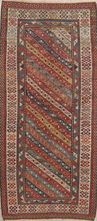 Pre-1900 Antique Vegetable Dye Kazak Caucasian Oriental Runner Rug 4x8