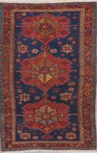 Pre-1900 Antique Vegetable Dye Kazak Oriental Area Rug 4x7