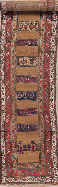 Antique Vegetable Dye Bidjar Halvaie Persian Runner Rug 3x16